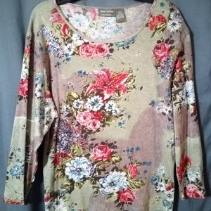 JUNE ASHLEY JEWELED FLORAL TOP
